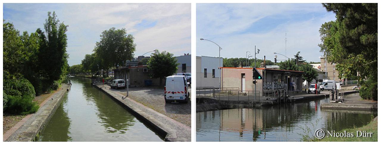 L'écluse du Béarnais, 1er ouvrage du Canal du Midi, d'une altitude de 135 m, au km 1.044, à bassin simple. Année de construction, 1669, remaniée en 1978.