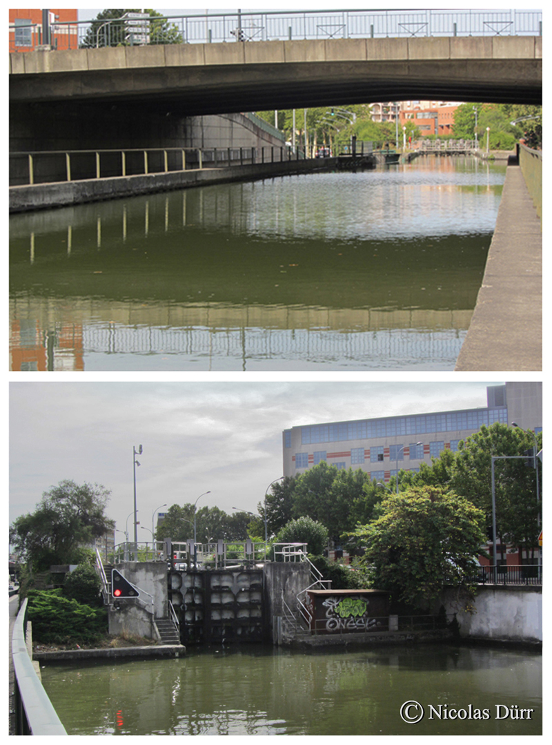 L'écluse des Minimes, 1669, remaniée en 1978, à bassin simple (autrefois à bassins doubles), 1 km 995 de la Garonne. Altitude 139 m. 2ère écluse à franchir par les navigants depuis l'extrèmité occidentale du canal.
