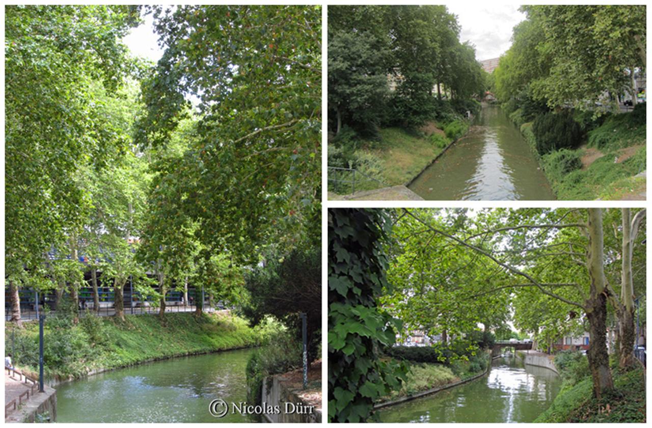 L'ancien bief Matabiau, long de 0 km 283, cet ancien 3ème bief du Canal du Midi mène le navigant jusqu'au pied de la gare éponyme, A noter, l'étroitesse du cours d'eau à cet endroit.