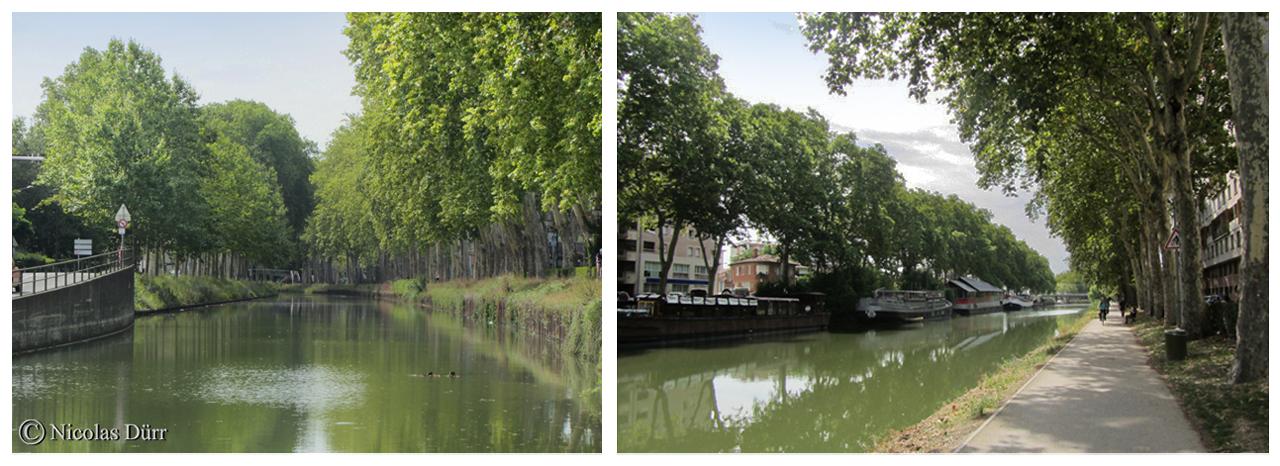 A l'Est de Toulouse, progression du Canal du Midi vers les chantiers du Radoub (ateliers de construction et de réparation des bateaux . Il existe un autre endroit de ce type à Castelnaudary).