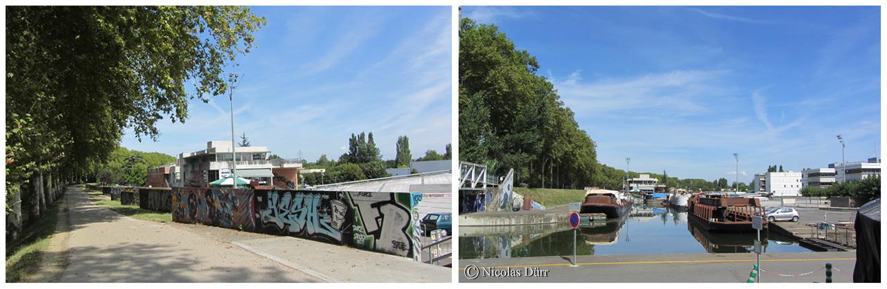 """Le Parc Technologique du Canal, lieu d'expression du """"Street Art"""". Ici, une activité de construction et rénovation batellière."""