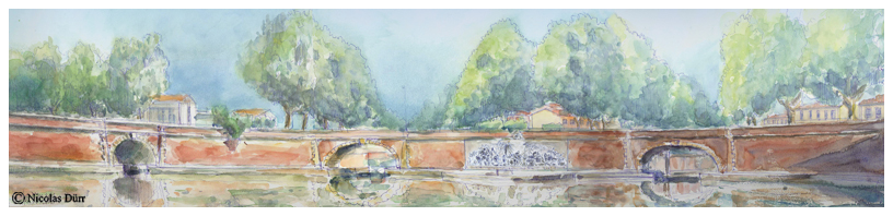 Aquarelle panoramique des 3 ponts