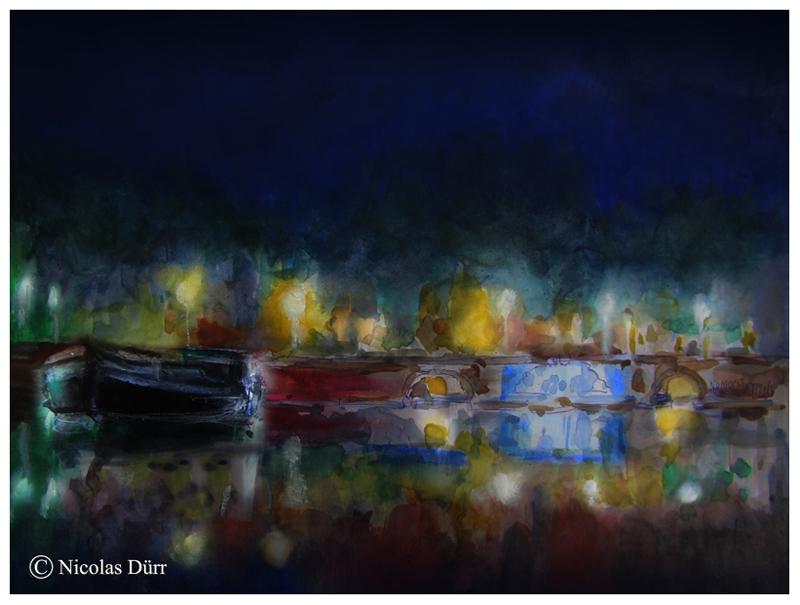 Aquarelle nocturne des Ponts Jumeaux (1)