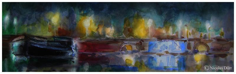 Aquarelle nocturne des Ponts Jumeaux (2)
