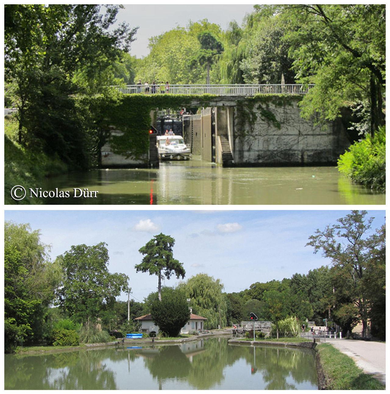 L'écluse de Castanet, 1673, remaniée en 1978, à bassin simple (anciennement à bassins doubles),15 km 715 de la Garonne. Altitude 148 m. Commune : Castanet Tolosan. 4e écluse sur le Canal à franchir par les navigants depuis son extrèmité occidentale à Toulouse. Nombre de communes traversée depuis l'extrèmité occidentale du canal jusqu' à l'extrèmité du bief : 4.