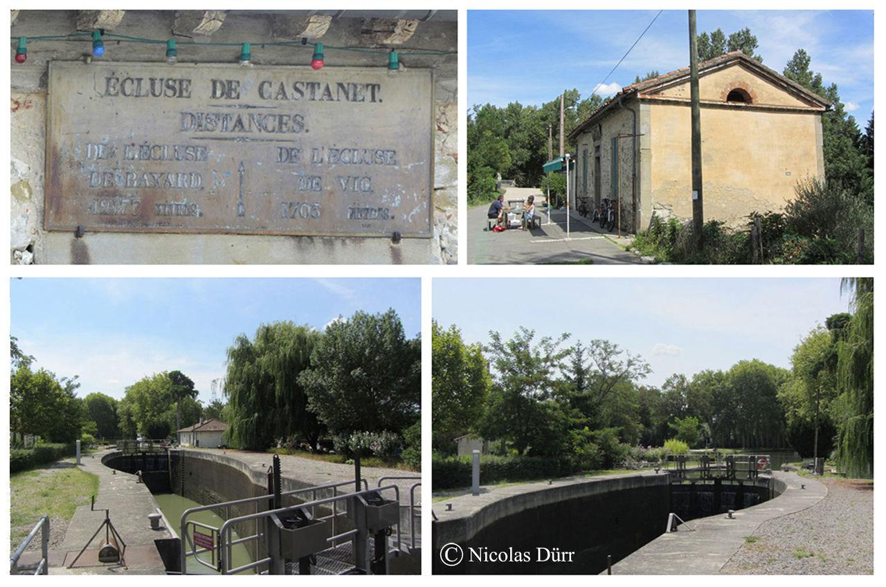 L'écluse de Castanet 1ère écluse au bassin à bajoyers élliptiques, sa maison, sa plaque ... et son pavillon préfabriqué (en données 2012).