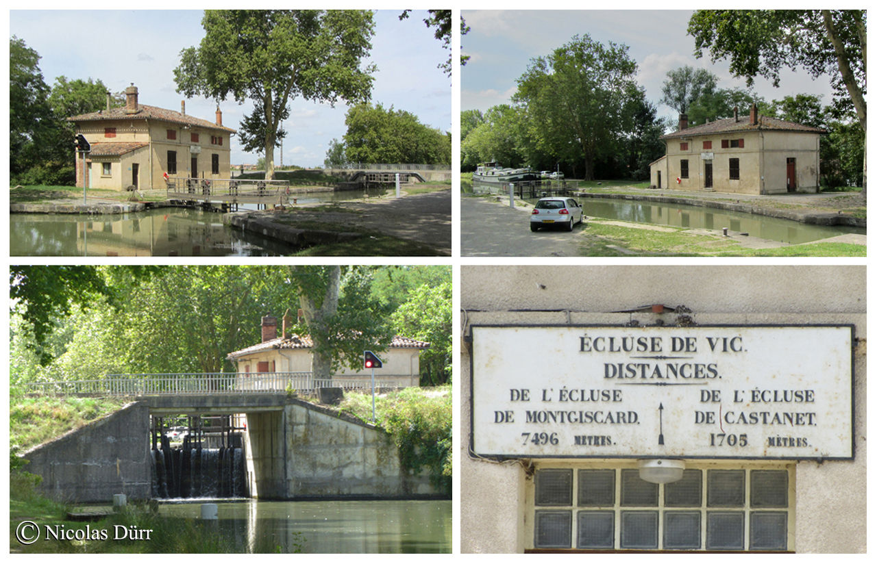 L'écluse de Vic, 1673 et remaniée en 1965, à bassin simple, 17 km 42 de la Garonne. Altitude 151 m. Commune : Castanet Tolosan 5e écluse sur le Canal à franchir par les navigants depuis son extrèmité occidentale à Toulouse.