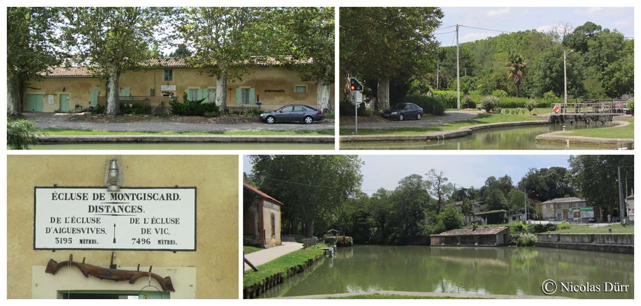 L'écluse de Montgiscard, 1673 et remaniée en 1978, à bassin simple (anciennement à bassins doubles) : 24 km 915 de la Garonne. Altitude 157 m. Commune : Montgiscard. 6e écluse sur le Canal à franchir par les navigants depuis son extrèmité occidentale à Toulouse.