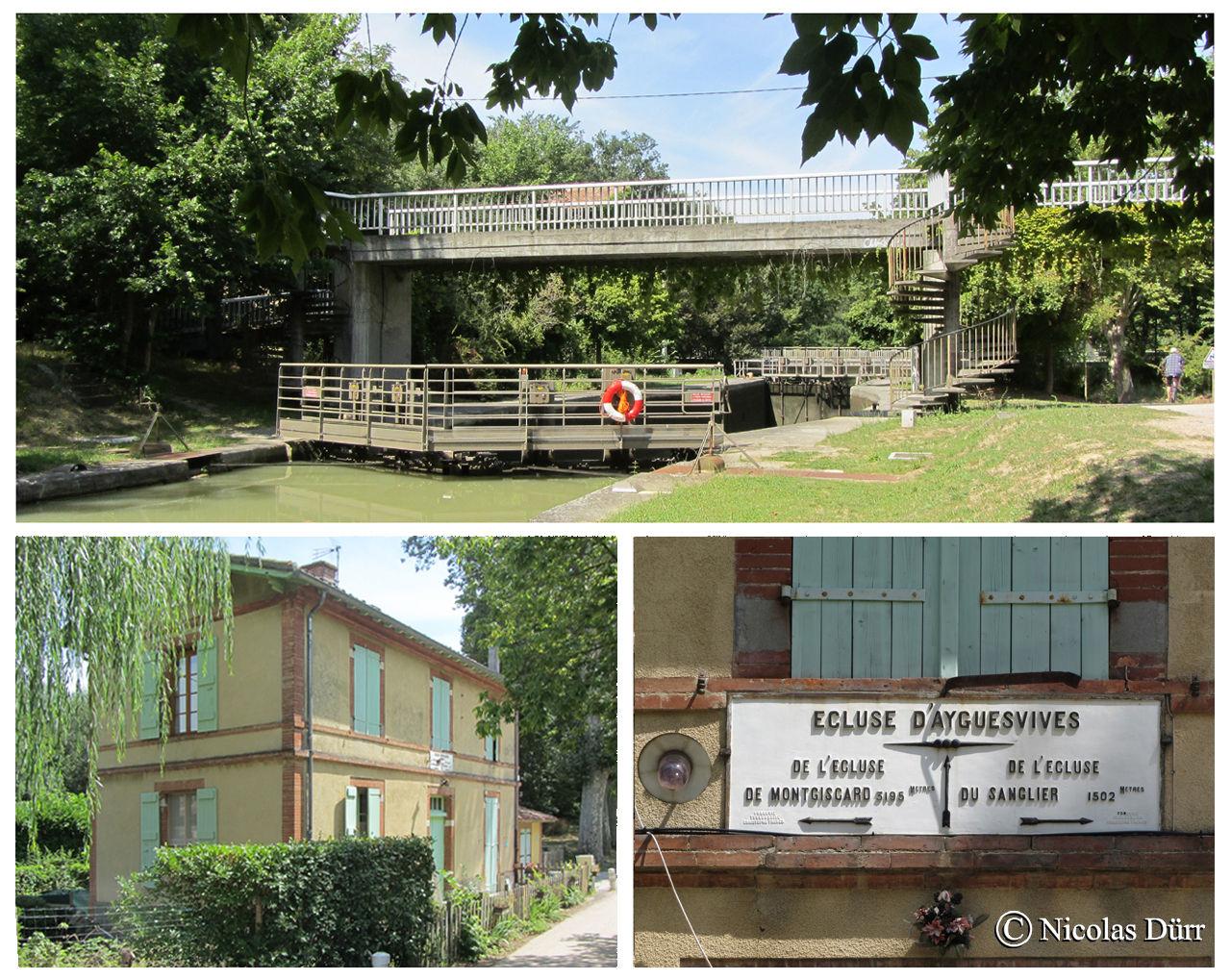 L'écluse d'Ayguevives, à bassin simple (anciennement à bassins doubles), 1673 et remaniée en 1978, au km 28,110 de la Garonne. à l'altitude de 159 m sur la commune éponyme et 7e écluse sur le Canal à franchir par les navigants depuis son extrémité occidentale à Toulouse.