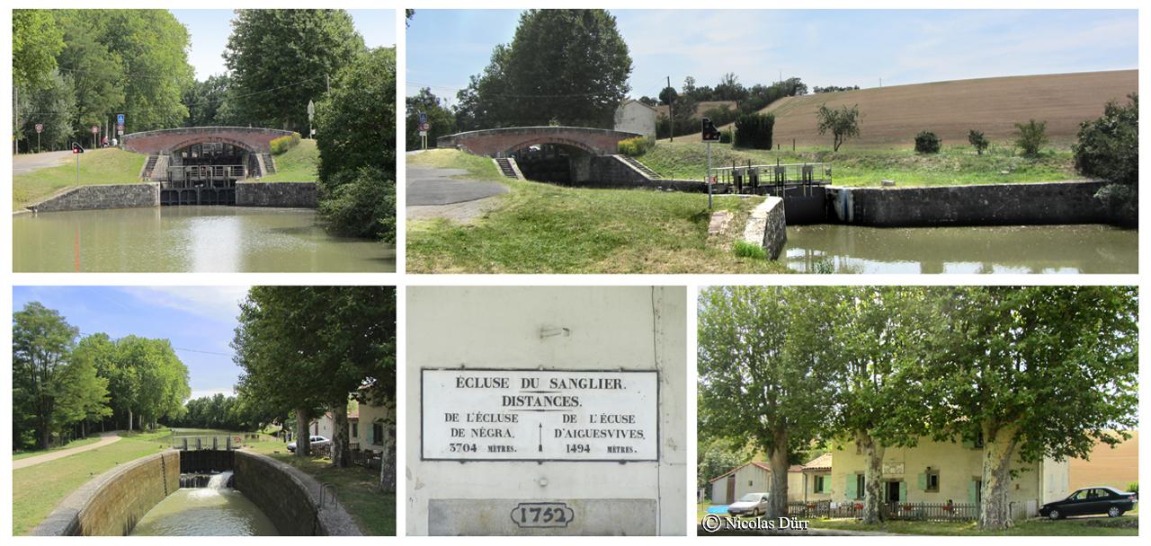 L'écluse du Sanglier, 1673, bassins doubles, 29 km 612 de la Garonne. Altitude 163 m. Commune : Ayguevives. 8e écluse sur le Canal à franchir par les navigants depuis son extrèmité occidentale à Toulouse.