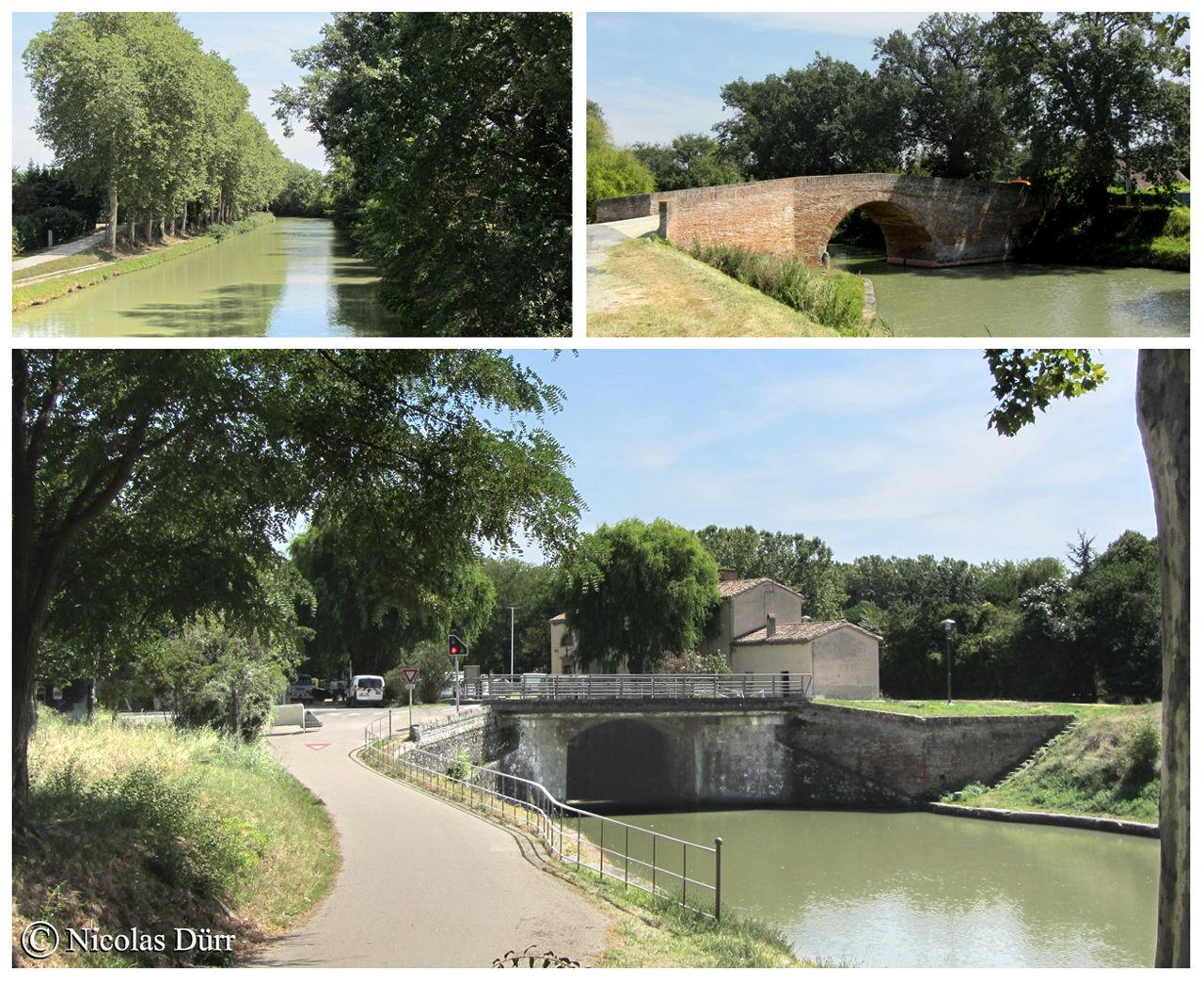 Sur le bief du Sanglier, le pont d'En Serny,ou de Montesquieu, 17ème siècle et remanié en 1890. Sur l'image du bas, arrivée sur l'écluse de Negra.