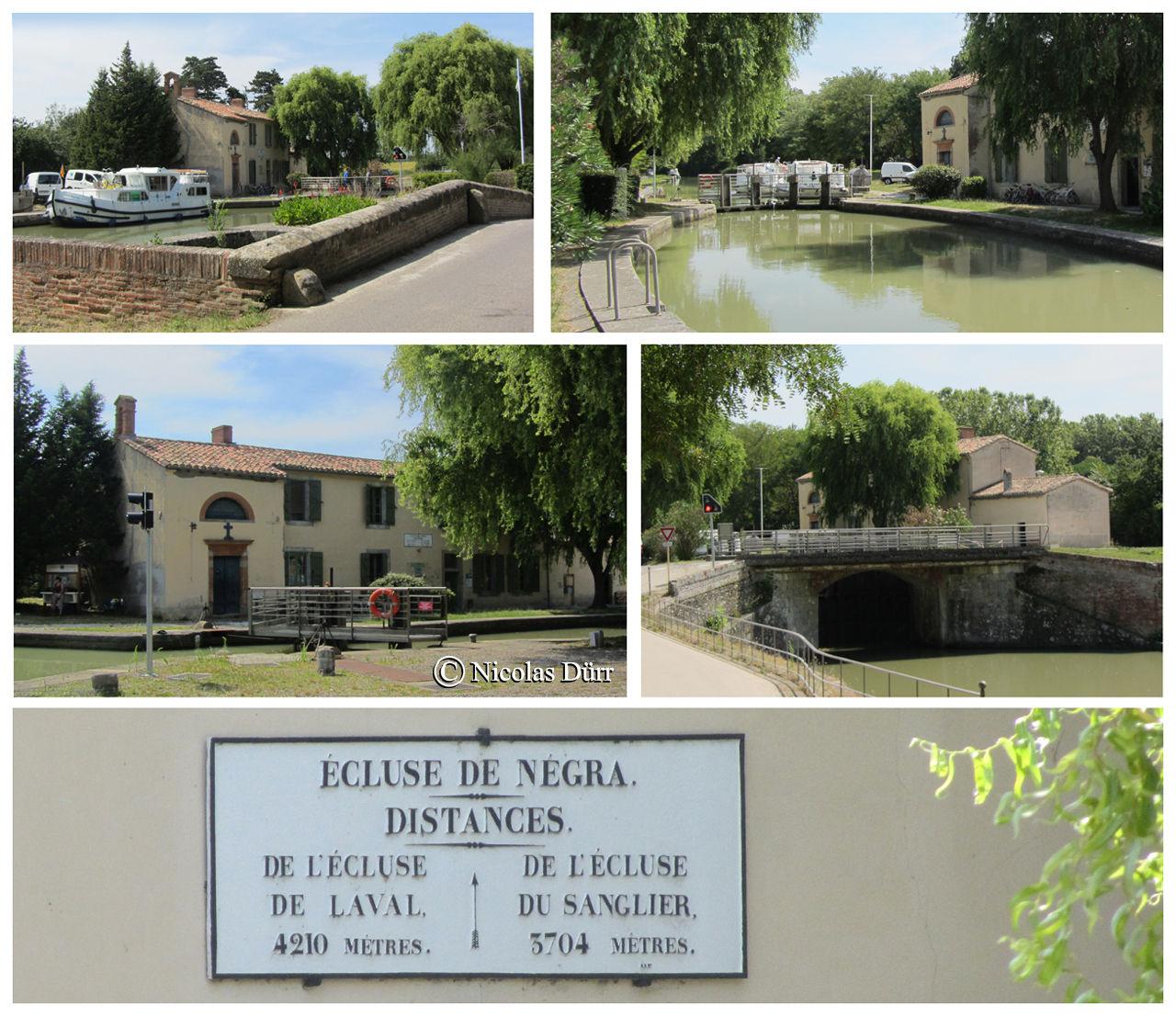 L'écluse de Negra, 1673, à bassin simple, 9e à franchir par les navigants (au km 33.315, altitude 166 m) et sa chapelle. Autrefois la 1ère dînée de la barque de poste en provenance de Toulouse.