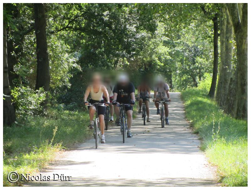 Cyclistes le long du bief de Renneville