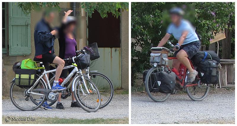 Les cyclistes à l'écluse d'Herminis
