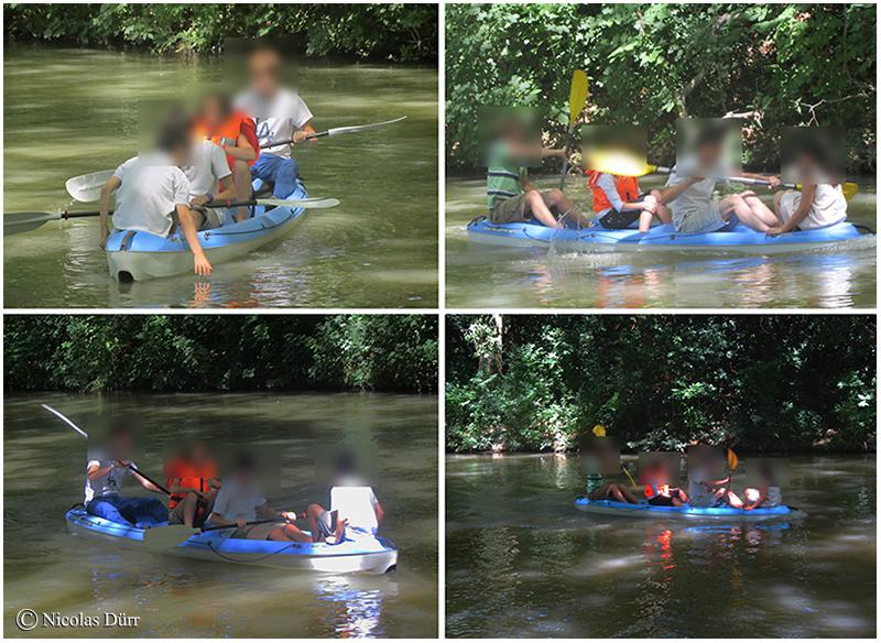 Adolescent(e)s pagayant sur le Canal du Midi