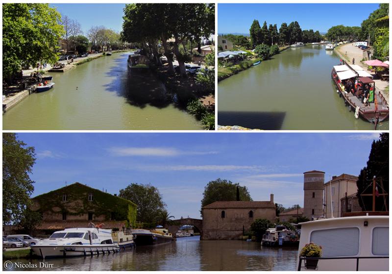 Le pont, la chapelle et le château d'eau au Somail
