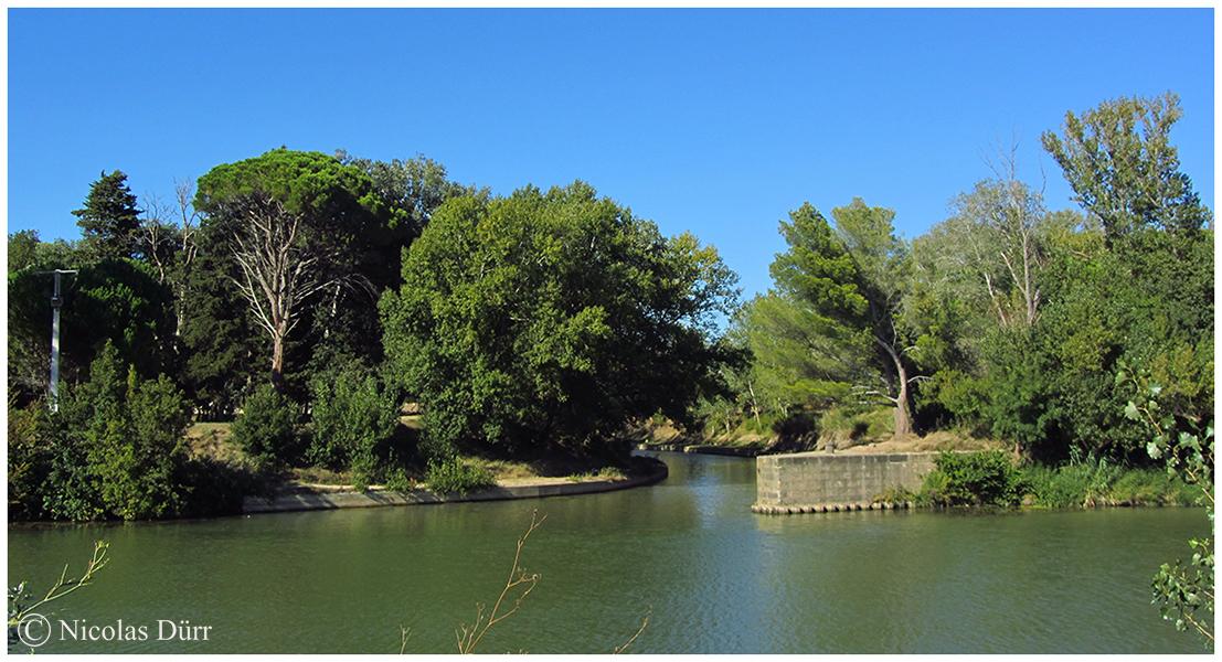 Arrivée du Canal de Jonction de la Robine sur l'Aude