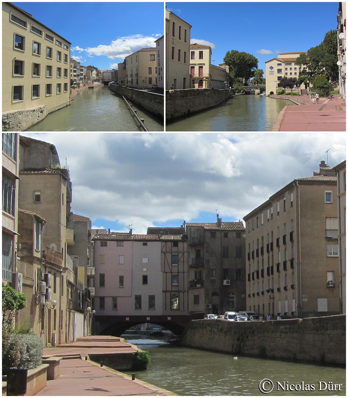Le bief de Mandirac en amont de l'écluse de Narbonne.