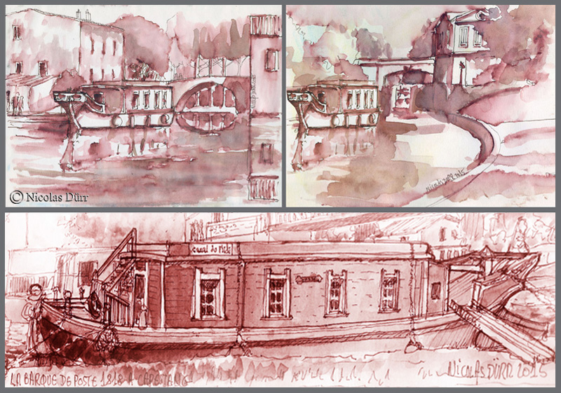 3 vues en lavis de la Barque de Poste 1818