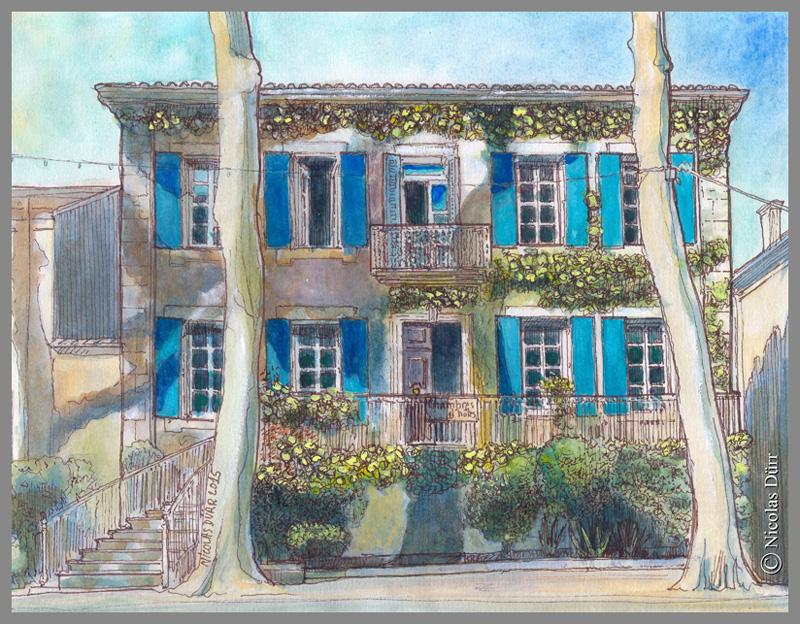 façade-principale-des-Volets-bleus-sallèles-d-aude-2015