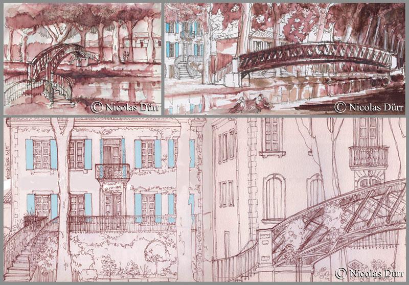 """Le pont métallique et """"Les Volets Bleus"""", Sallèles d'Aude, 2015"""