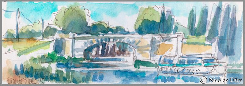 Le Pont Neuf du Somail, en version aquarellée