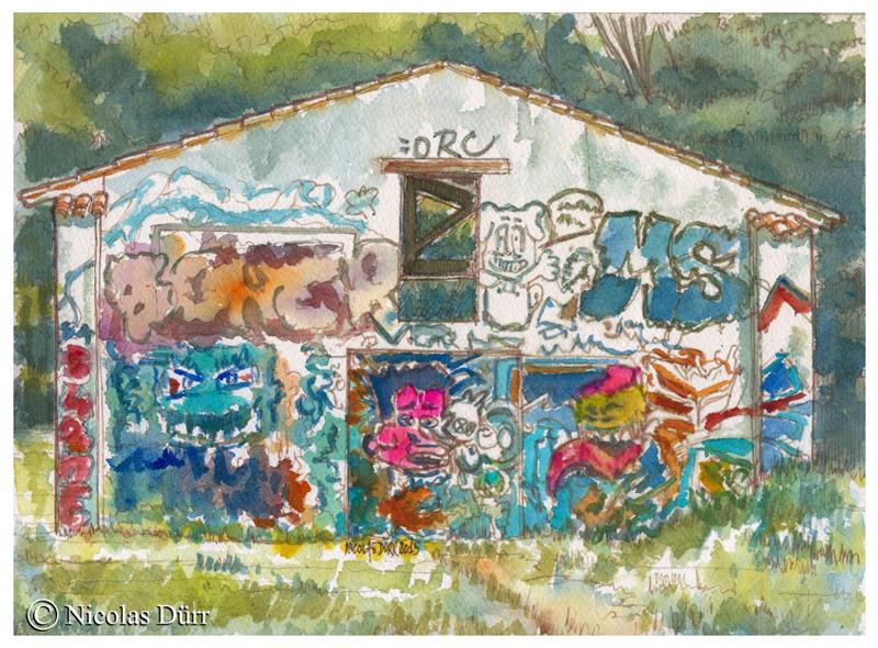 Tags sur un pignon de bâtiment, mai 2015, aquarelle