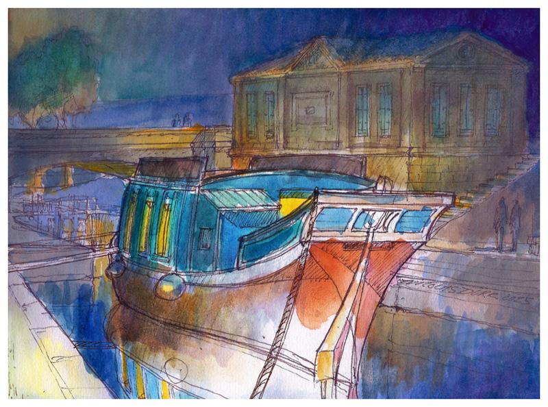 Nocturne de la barque de poste à l'épanchoir du Gailhousty