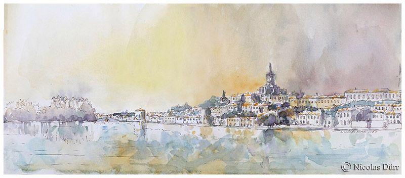 De gauche à droite : île de la Cybèle, pont d'accès au port (vers Toulouse), vieux moulin, église et ville de Castelnaudary