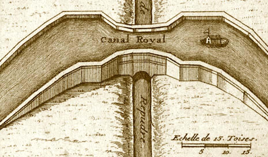Décor d'une carte de Nicolas De Fer : Le Pont-canal du Répudre. Image transformée de couleur sépia