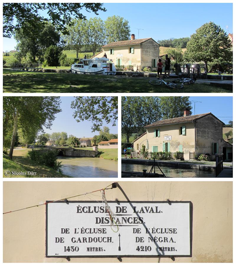 Ecluse de Laval (1673) : 37 km 525 de la Garonne. Altitude : 170 m. Commune : Gardouch. 10e écluse sur le Canal à franchir par les navigants depuis son extrèmité occidentale à Toulouse.