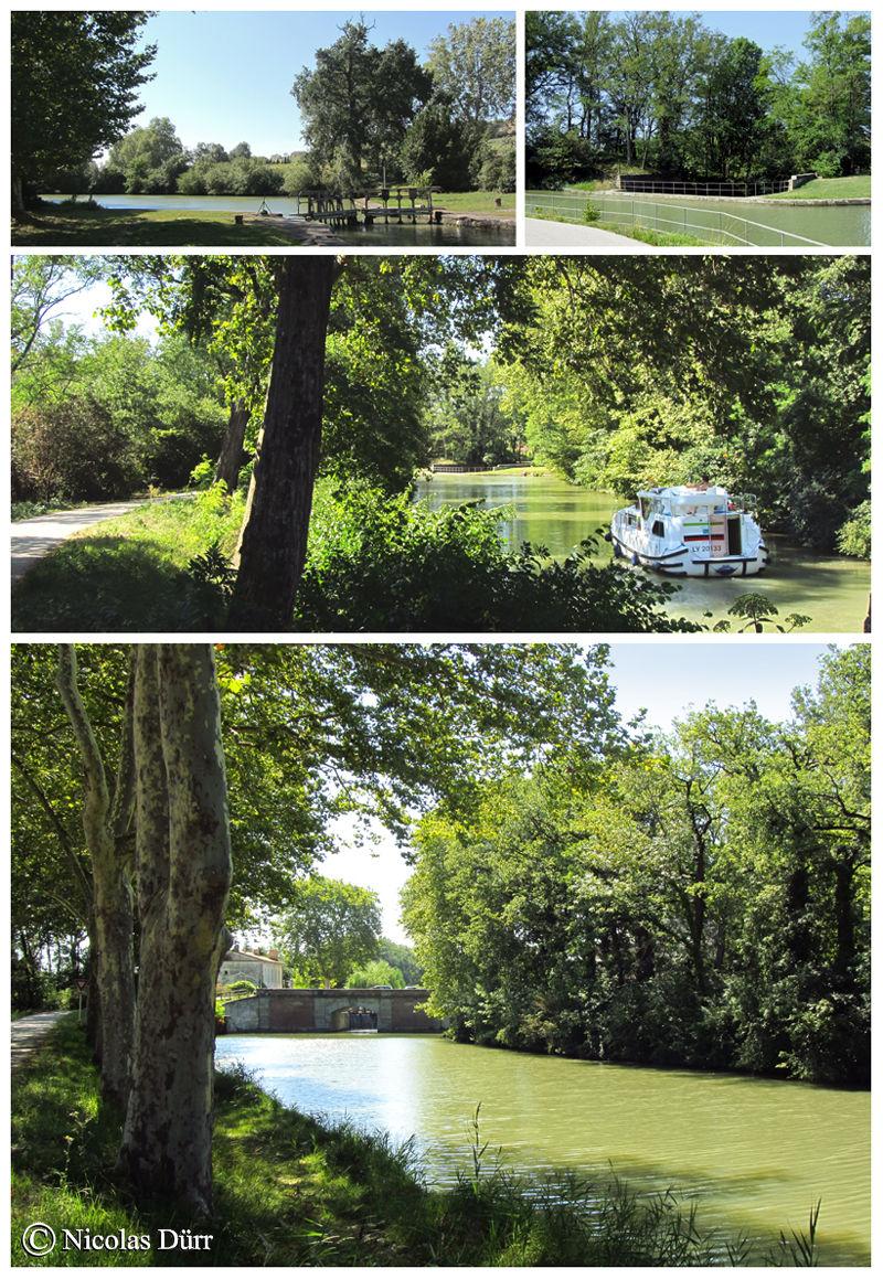 Bief de Laval : Longueur : 1 km 428. 11e bief. Commune traversée par le bief : Gardouch (Lauragais, département de la Haute Garonne, Région Midi Pyrénées). Nombre de communes traversée depuis l'extrèmité occidentale du canal jusqu' à l'extrèmité du bief : 12. Nombres de communes traversées par la totalité du canal : 63.