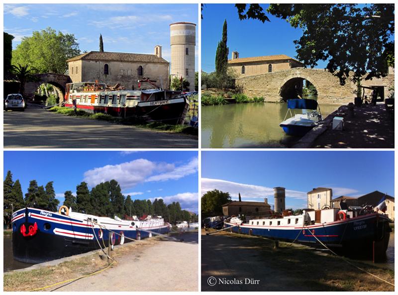 """Le pont, la chapelle et les péniches """"Béatrice"""" et """"Alegria"""" au Somail"""