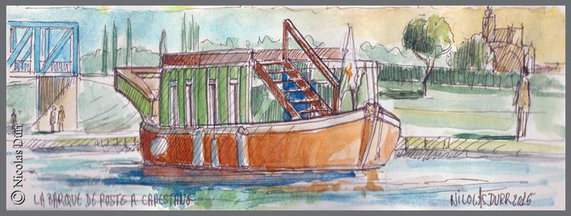 La Barque de Poste amarrée à Capestang