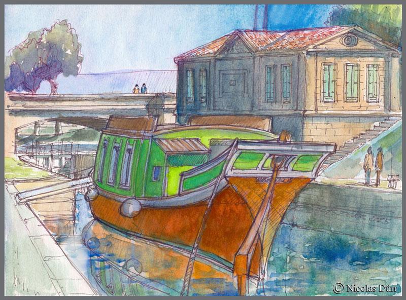 La Barque de Poste 1818 à l'épanchoir du Gailhousty, 2015